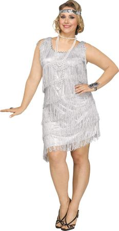 Plus Size Silver Shimmery Flapper Costume
