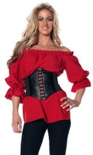 Women's 3/4-Sleeve Red Renaissance Peasant Blouse - Candy Apple Costumes - Pop Culture