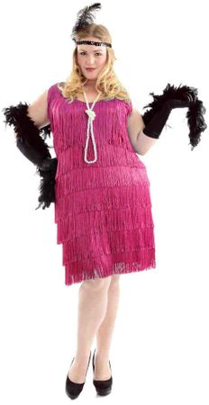 Plus Size Women's Fuchsia Flapper Costume