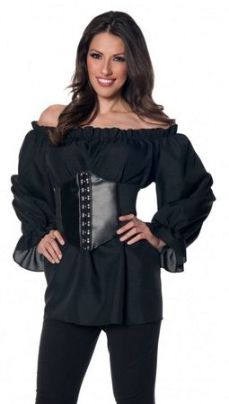 Plus Size Women's Long Sleeve Black Renaissance Peasant Blouse