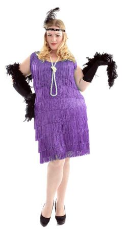 Plus Size Women's Purple Fringed Flapper Costume