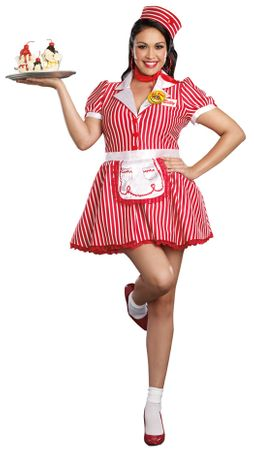 Plus Size Women's Retro Diner Doll Costume