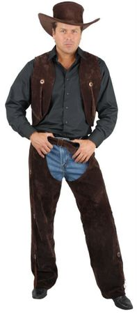 Adult Deluxe Brown Suede Chaps and Vest Cowboy Costume