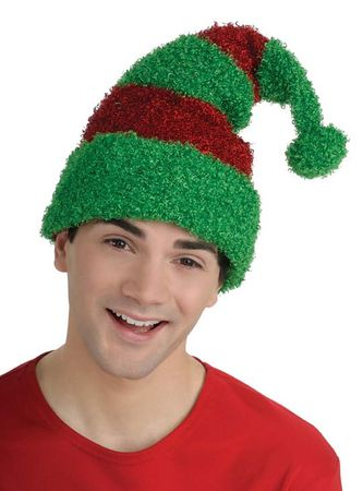 Plush Red/Green Elf Hat