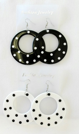 Polka Dot Earrings - Black and White