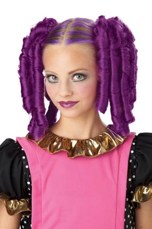 Purple Clip on Anime Curls Pigtail Wig and Hairscara