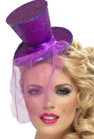 Purple Glitter Mini Top Hat on Headband