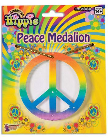 Rainbow Peace Sign Medallion Necklace