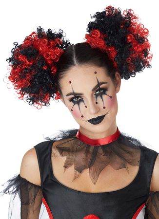 Red/Black Curly Clown Puffs Wig