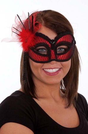 Red/Black Lace Mask