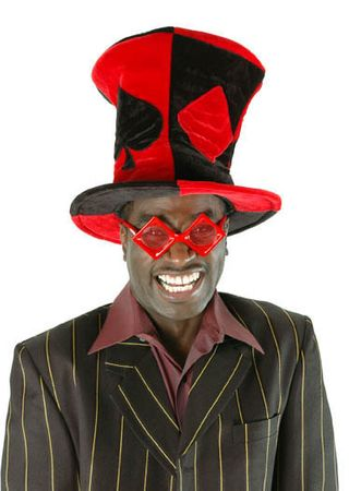 Red/Black Mad Hatter Ace Top Hat