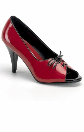 Red/Black Patent Peep Toe Pumps