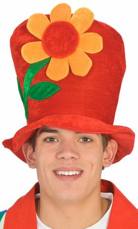 Red Clown Top Hat with Flower
