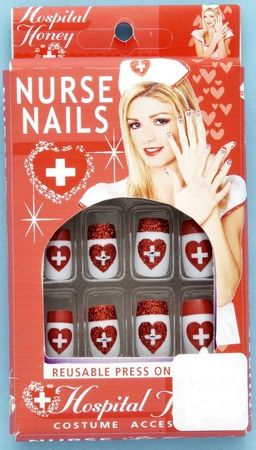 Red Glitter Nurse Costume Nails