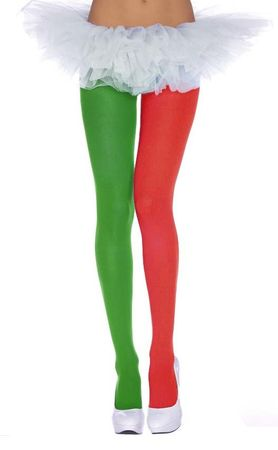 Red/Green Elf Tights - Adult and Plus