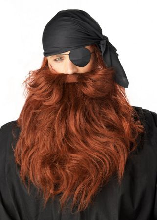 Red Pirate Beard and Mustache