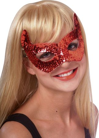 Red Sequin Devil Mask