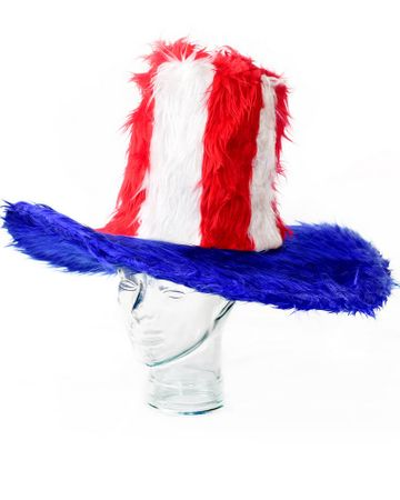 Red, White and Blue Faux Fur Uncle Sam Hat
