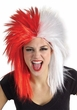 Red/White Sports Fan Wig