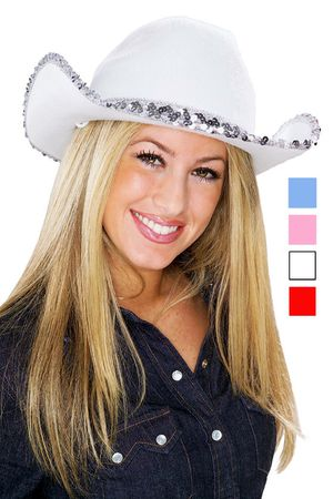 Sequin Trim Cowgirl Hat - More Colors