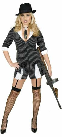 Sexy Black/White Girly Gangster Moll Costume, Size XS
