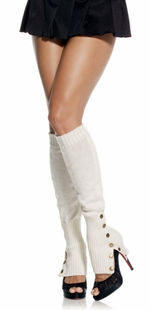 8899bb7d9 Side Button Acrylic Leg Warmers - Ivory or Black - Candy Apple ...