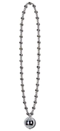 Silver Disco Ball Bead Necklace