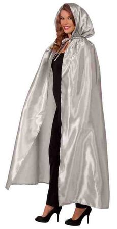 Silver Fancy Masquerade Hooded Cape