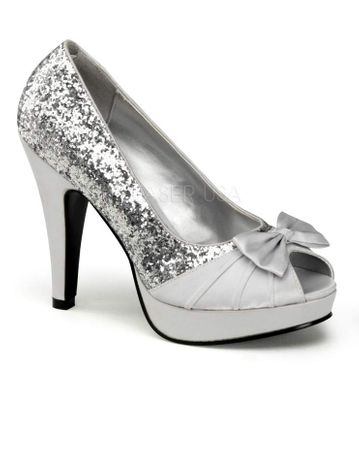 Silver Glitter Bettie Peep Toe Pumps