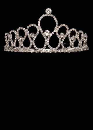 Silver Metal Teardrop Tiara With Rhinestones