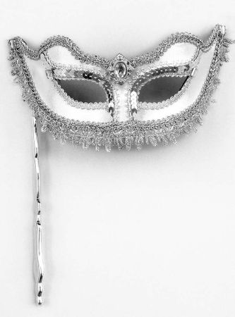 Silver Venetian Mask With Stick