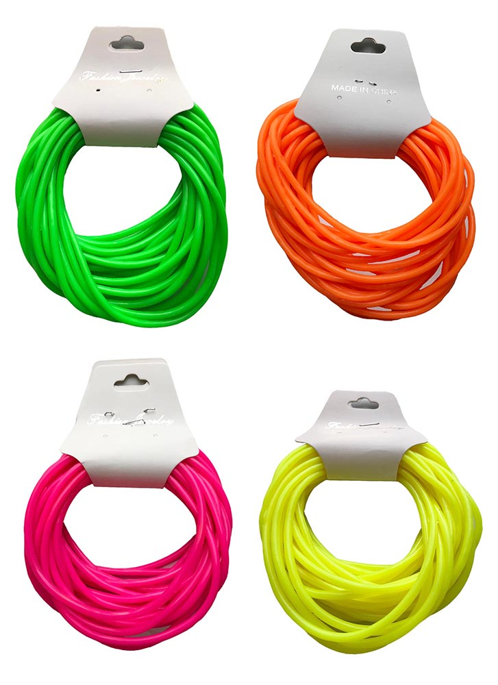 Solid Neon Rubber Bracelets 24 Pack