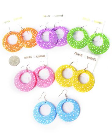 Star Print Pastel Hoop Dangle Earrings