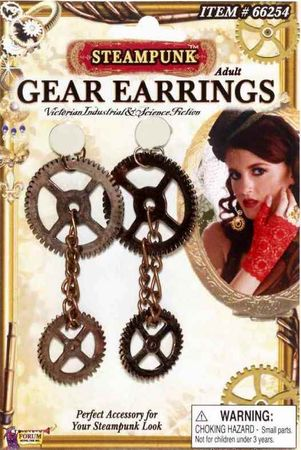 Steampunk Bronzed Gear Earrings
