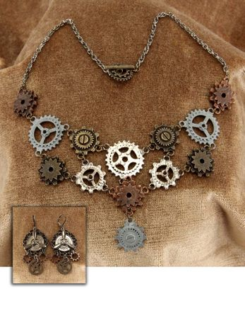 Steampunk Gear Necklace and Earrings Set
