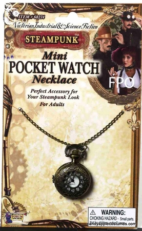 Steampunk Pocket Watch Necklace Costume Accessory
