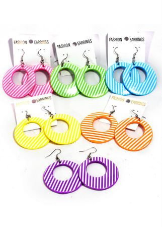 Striped Hoop Plastic Earrings