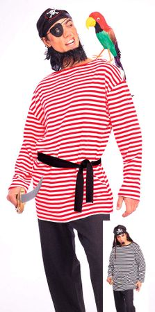 Adult Striped Pirate Matie/Mime Shirt - Red or Black