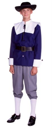 Teen/Tween Blue Pilgrim Man Costume