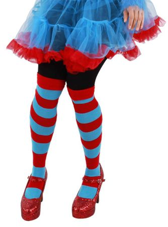 Thing 1 and 2 Blue  Red Striped Tall Socks