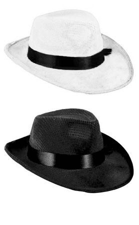 Velour Gangster Fedora Hat - Black or White