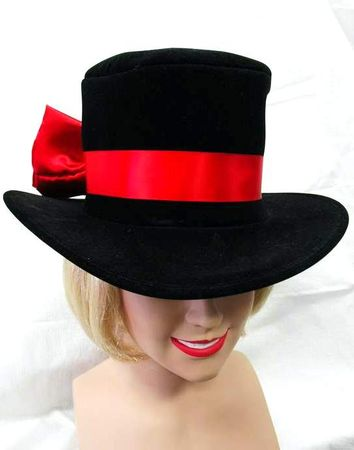 Velvet Top Hat w/ Red Bow