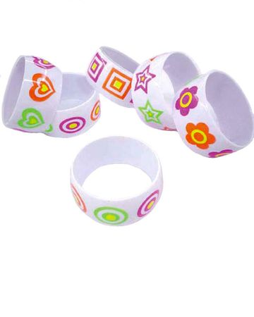 White Bangle with Neon Designs