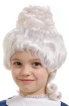 Child's White Colonial Lady Wig