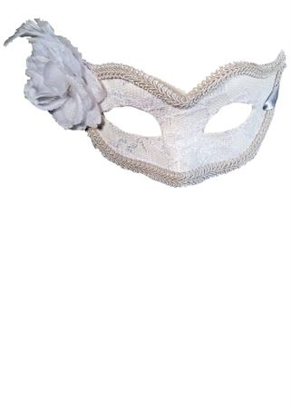 White Lace Venetian Carnival Mask With Flower