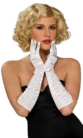 White Ruched Satin Elbow Length Gloves