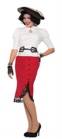 Women's 1940's Red Pencil Skirt, Size M/L