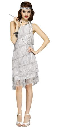 Women's 20's Shimmery Silver Flapper Costume
