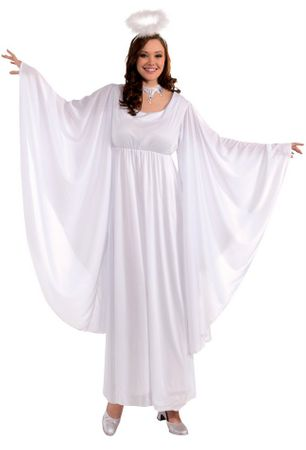 Plus Size Women's Angel Costume With Bell Sleeves