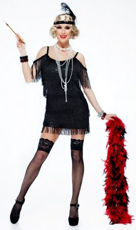 Women's Black Fringed Manhattan Flapper Costume